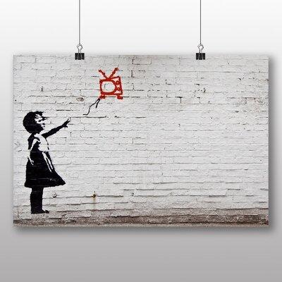 "Big Box Art ""Girl with Balloon TV Graffiti No.2"" by Banksy Art Print on Canvas"