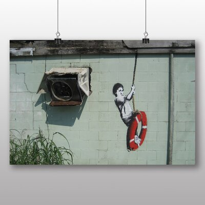 Big Box Art Banksy Swinger Building Graffiti Photographic Print