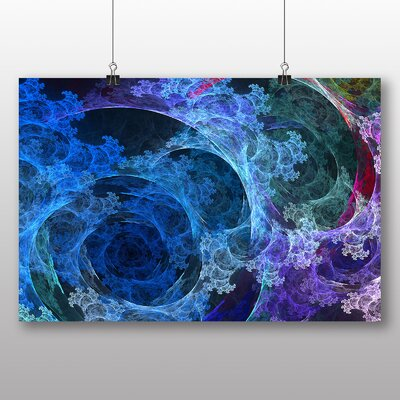 Big Box Art Blue Fractal Abstract No.1 Graphic Art Wrapped on Canvas
