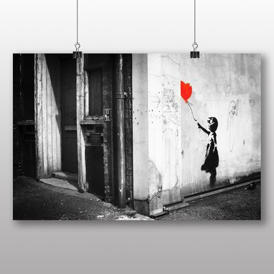 """Big Box Art """"Girl with Balloon Graffiti No.1"""" by Banksy Photographic Print Wrapped on Canvas"""