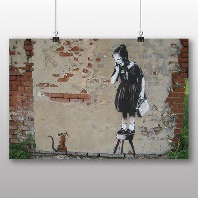 "Big Box Art ""Rat Graffiti No.2"" by Banksy Art Print Wrapped on Canvas"