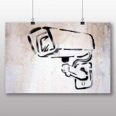Big Box Art CCTV Camera Graffiti Art Print Wrapped on Canvas