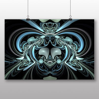 Big Box Art Blue Fractal Abstract Graphic Art on Canvas