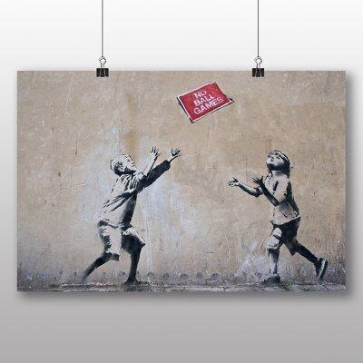 Big Box Art Banksy No Ball Games Graffiti by Banksy Art Print