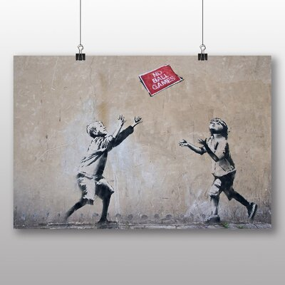 "Big Box Art ""No Ball Games Graffiti"" by Banksy Art Print Wrapped on Canvas"
