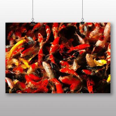 Big Box Art Carp Fish Graphic Art Wrapped on Canvas