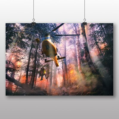 Big Box Art Army Military Helicopter No.5 Graphic Art Wrapped on Canvas