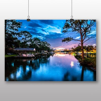 Big Box Art Blue Mythical Sunset Photographic Print Wrapped on Canvas