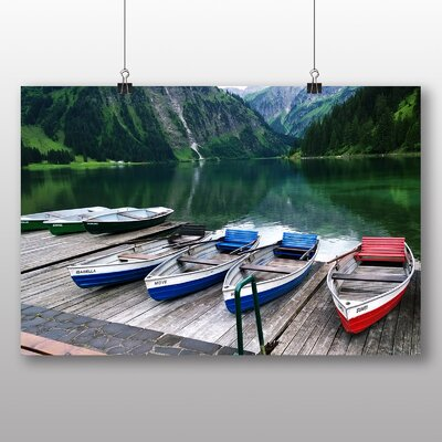 Big Box Art Boats on Jetty Photographic Print Wrapped on Canvas