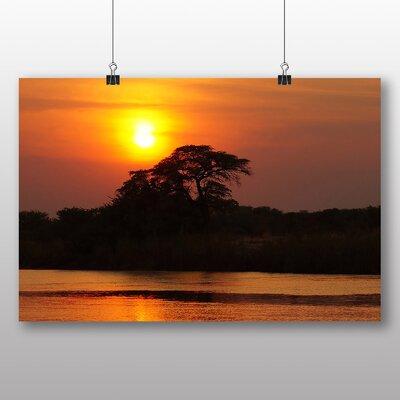 Big Box Art Botswana Africa Sunset Photographic Print Wrapped on Canvas