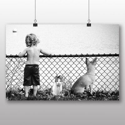 Big Box Art Boy Cat and Dog Photographic Print on Canvas