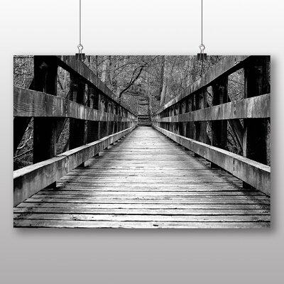 Big Box Art Bridge Through Forest Wood Photographic Print Wrapped on Canvas