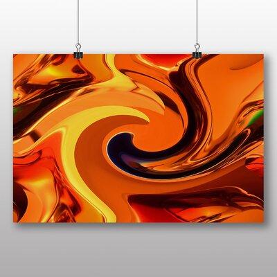 Big Box Art Colourful Orange Abstract Graphic Art on Canvas