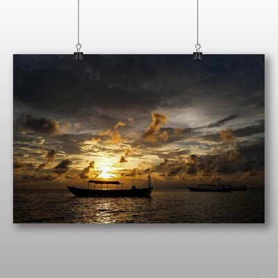 Big Box Art Cambodia Sunset No.1 Photographic Print Wrapped on Canvas