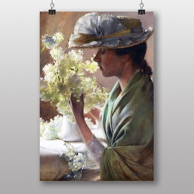 Big Box Art Lady with a Bouquet by Charles C. Curran Art Print