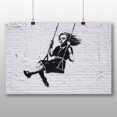 "Big Box Art ""Girl on Swing Graffiti"" by Banksy Art Print Wrapped on Canvas"