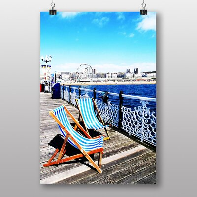 Big Box Art Deckchairs Brighton Beach Photographic Print on Canvas