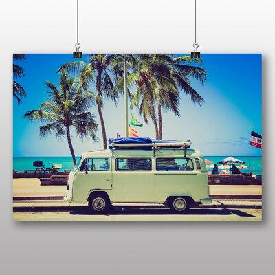 Big Box Art Camper Van Tropical Beach Photographic Print Wrapped on Canvas