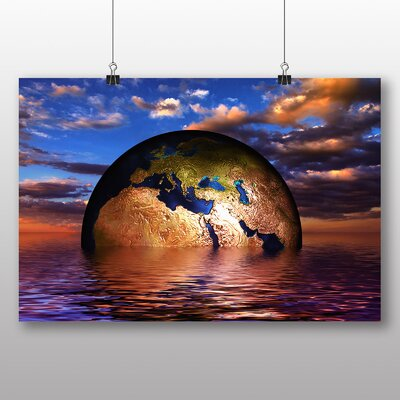 Big Box Art Earth Globe Abstract No.2 Graphic Art Wrapped on Canvas