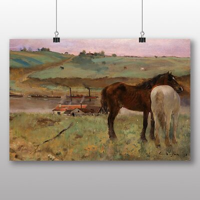 Big Box Art 'Horses in a Meadow' by Edgar Degas Art Print
