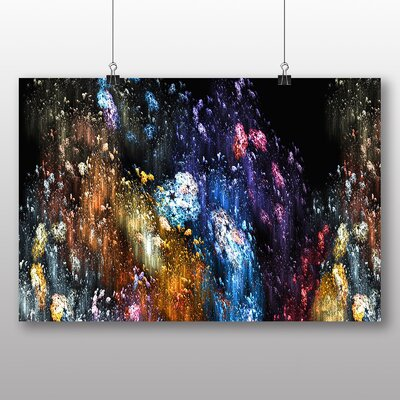Big Box Art Colourful Paint Splash Abstract No.7 Graphic Art Wrapped on Canvas