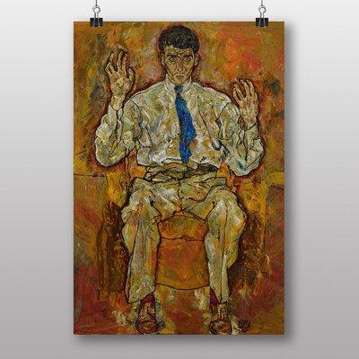 Big Box Art Portrait of a Seated Man by Egon Schiele Art Print