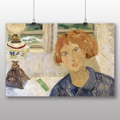 Big Box Art Girl and Lamp in a Cornish Window by Christopher Wood Art Print