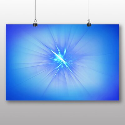 Big Box Art Blue Fractal Abstract No.3 Graphic Art Wrapped on Canvas