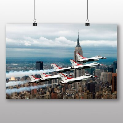 Big Box Art Empire State Building New York City Fighter Jets No.1 Photographic Print Wrapped on Canvas