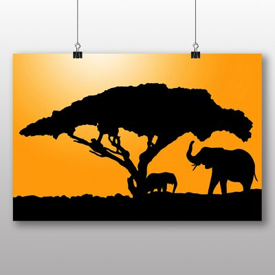 Big Box Art Elephant Silhouette at Sunset Graphic Art Wrapped on Canvas
