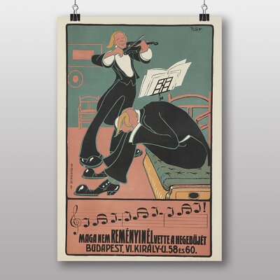 "Big Box Art ""Budapest Violin"" by Eugene Grasset Vintage Advertisement"