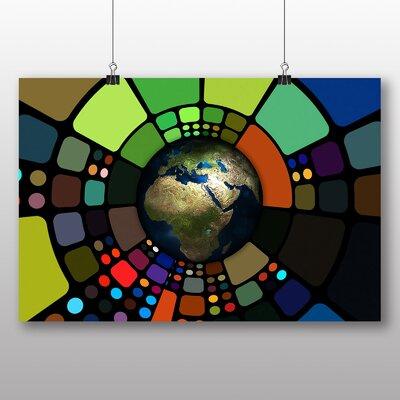 Big Box Art Earth Globe Abstract No.3 Graphic Art on Canvas
