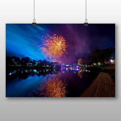 Big Box Art Fireworks at Night No.1 Photographic Print Wrapped on Canvas