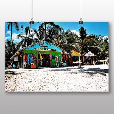 Big Box Art Dominican Republic Caribbean Beach Shack Photographic Print Wrapped on Canvas