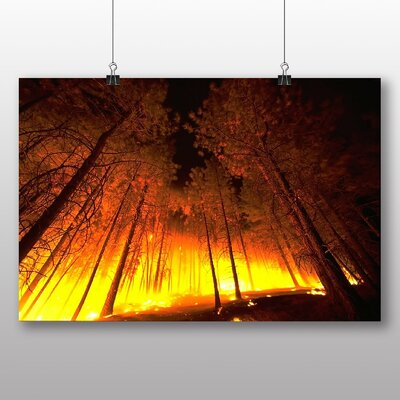 Big Box Art Forest Fire Wood Photographic Print Wrapped on Canvas