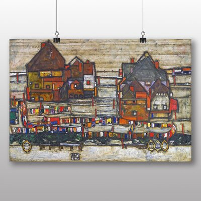 Big Box Art 'Houses with Laundry' by Egon Schiele Art Print