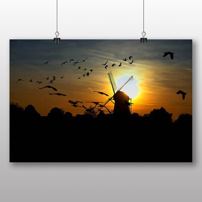 Big Box Art Geese Sunset and Windmill Photographic Print Wrapped on Canvas