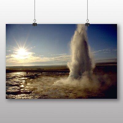Big Box Art Geysir Eruption Near Iceland Photographic Print Wrapped on Canvas