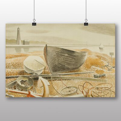 """Big Box Art """"Anchor and Boats"""" by Eric Ravilious Art Print on Canvas"""