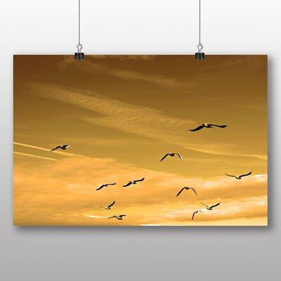 Big Box Art Flying Seagulls Photographic Print on Canvas