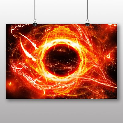 Big Box Art Fractal Abstract Sun Graphic Art Wrapped on Canvas