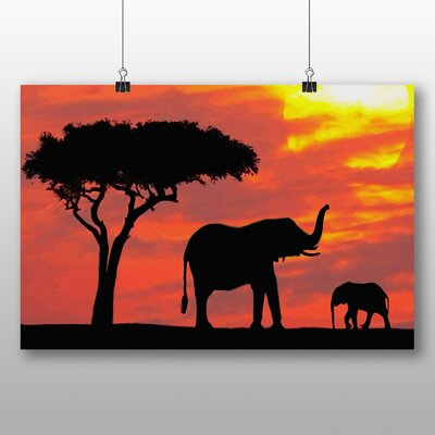 Big Box Art Elephant Sunset Photographic Print Wrapped on Canvas