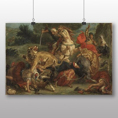 Big Box Art 'Lion Hunt' by Eugene Delacroix Art Print