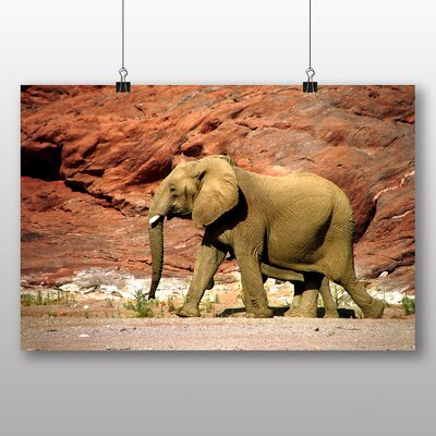 Big Box Art Elephant Rocky Canyon Photographic Print Wrapped on Canvas
