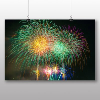 Big Box Art Fireworks at Night No.4 Graphic Art on Canvas
