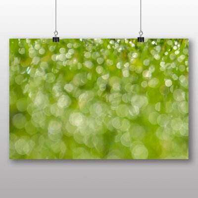 Big Box Art Green Blurred Fairy Lights Abstract No.3 Graphic Art Wrapped on Canvas