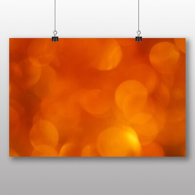 Big Box Art Golden Orange Blurred Fairy Lights Abstract No.1 Graphic Art Wrapped on Canvas