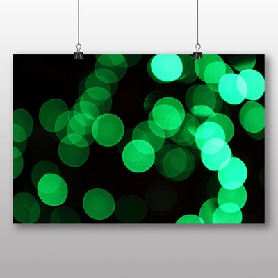 Big Box Art Green Blurred Fairy Lights No.4 Graphic Art Wrapped on Canvas