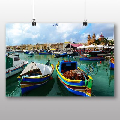 Big Box Art Fishing Boat Malta Photographic Print Wrapped on Canvas
