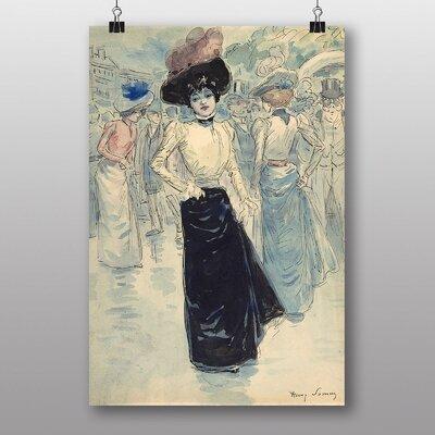 "Big Box Art ""Woman on Paris Street"" by Henry Somm Art Print"